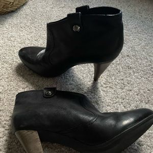 Coach Aliza black leather ankle booties